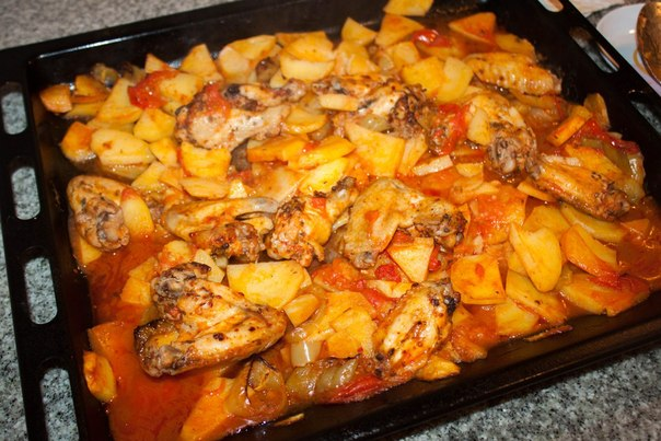 Картошка кружочками с курицей в духовке рецепт