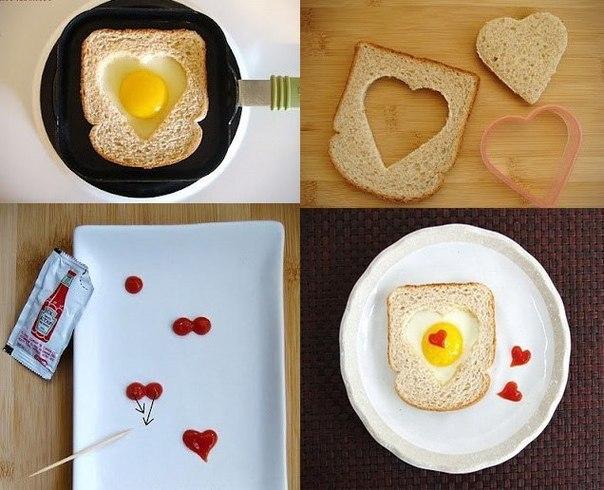 Как сделать яичницу сердечком