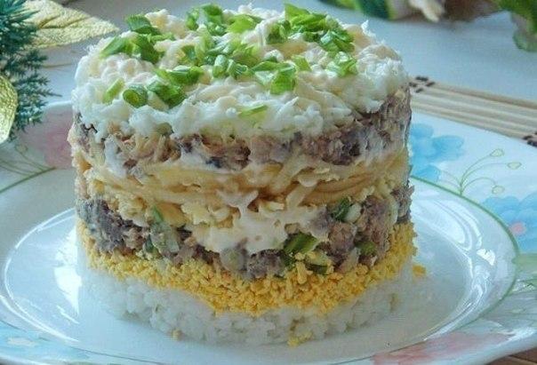 Салат с копчёной курицей и грибами и кукурузой