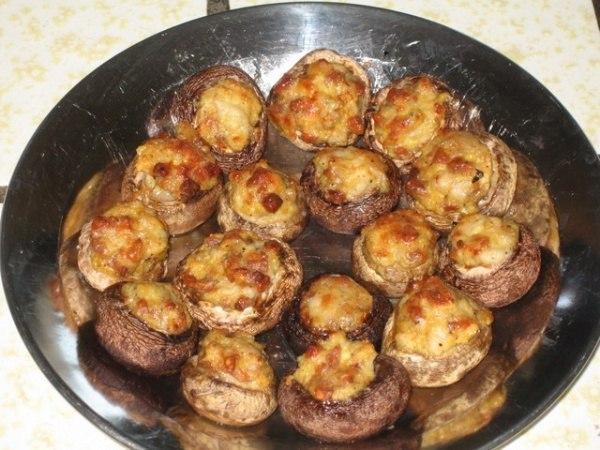 Грибы фаршированные грибами и сыром рецепт с пошагово