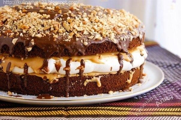 Торт сникерс с карамелью рецепт с пошагово в домашних условиях